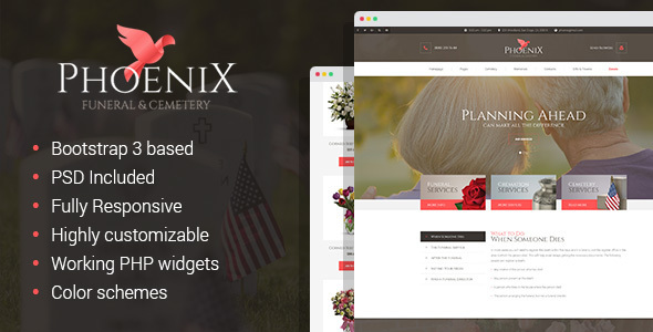 Phoenix - Funeral Service, Funeral Home  Cemetery HTML Template by