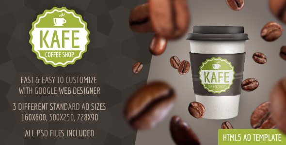 Kafe - HTML5 Coffee Shop Ad Template by WiselyThemes CodeCanyon - for sale ad template