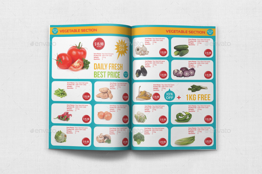 Supermarket Catalog Brochure Template Vol4 - 12 Pages by OWPictures