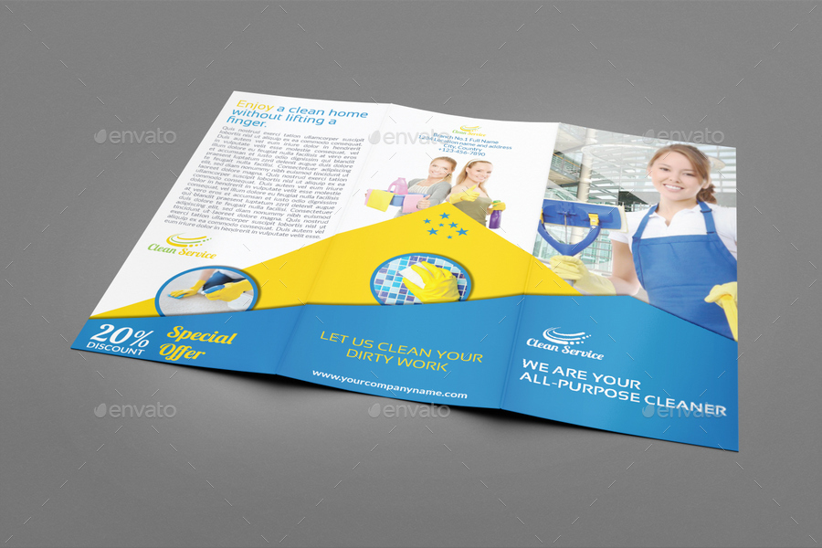 Cleaning Services Tri-Fold Brochure Vol3 by OWPictures GraphicRiver - services brochure