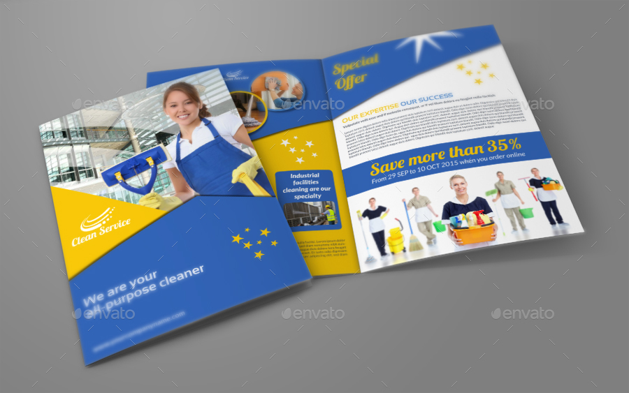 Cleaning Services Brochure Bundle Template by OWPictures - services brochure