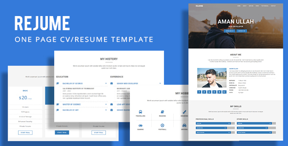 REJUME - Personal Resume Template by CodersPoint ThemeForest - personal resume template