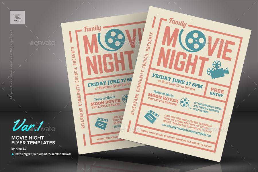 Movie Night Flyer Templates by kinzishots GraphicRiver - movie night flyer template