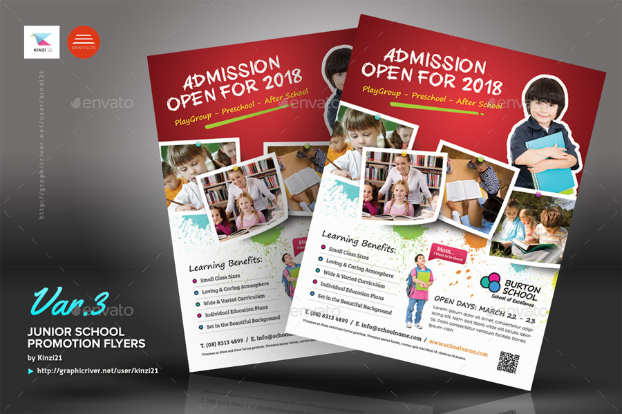 Junior School Promotion Flyers by kinzi21 GraphicRiver - promotional flyer designs