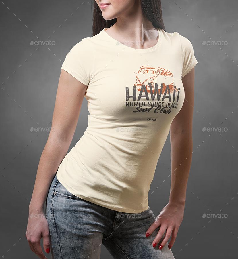 Female T-shirt Mock-up by vasaki GraphicRiver