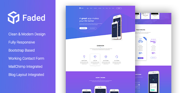Faded - Creative App Landing Page Template With Blog + RTL by - app landing page template