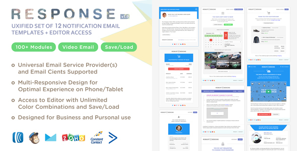 Response - UXified Set of 12 Notification Email Templates + Online