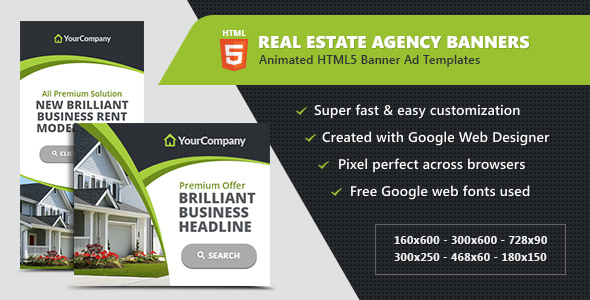 Real Estate Agency Banners - HTML5 Ad Templates by InfiniWeb