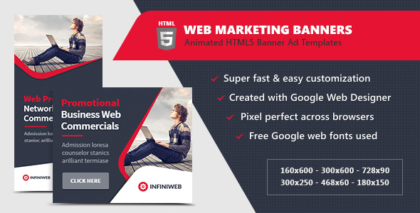 HTML5 Ads - Web Marketing Banner Templates by InfiniWeb CodeCanyon