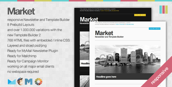 Market - Responsive Newsletter with Template Builder by EverPress - market template