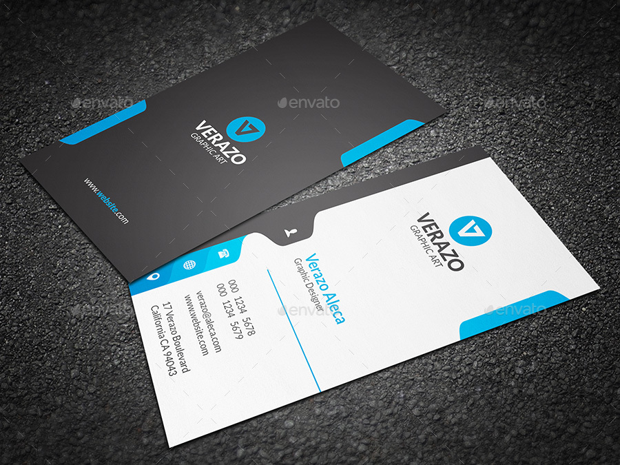 Creative Vertical Business Card Template by verazo GraphicRiver