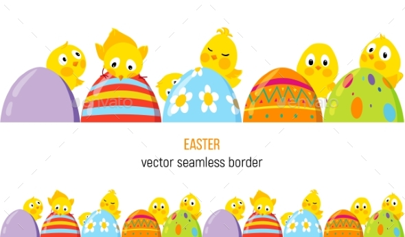 Easter Vector Border with Chicks and Eggs by Xana_UKR GraphicRiver