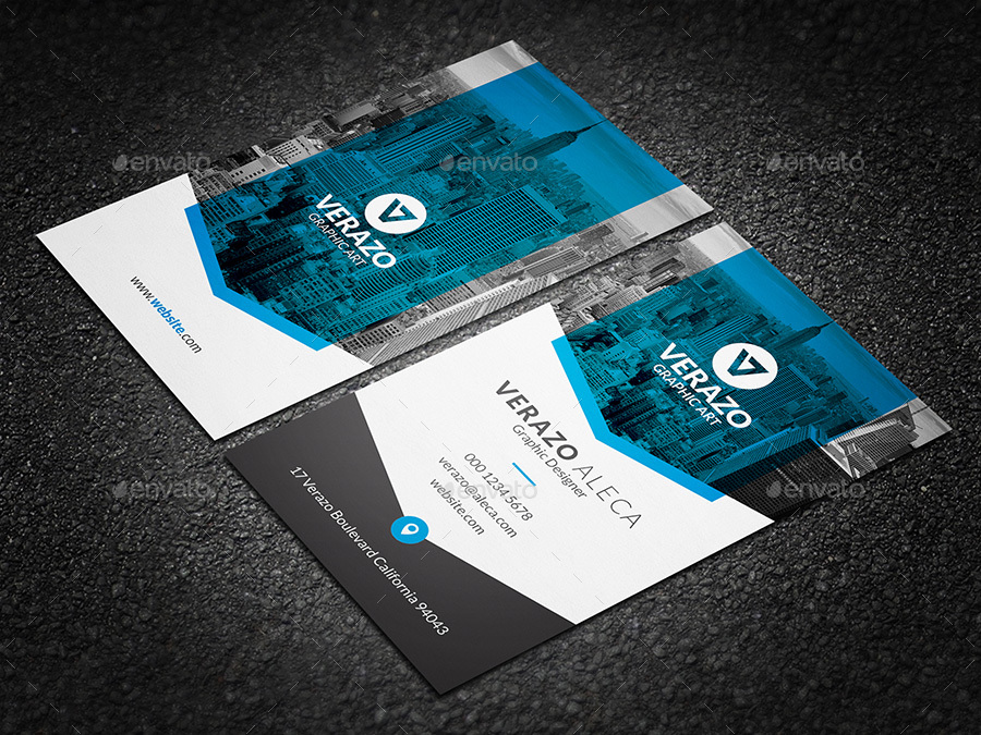 Clean  Modern Vertical Business Card Template by verazo GraphicRiver