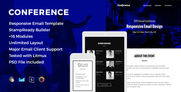 Conference - Responsive Email Template by HyperPix ThemeForest
