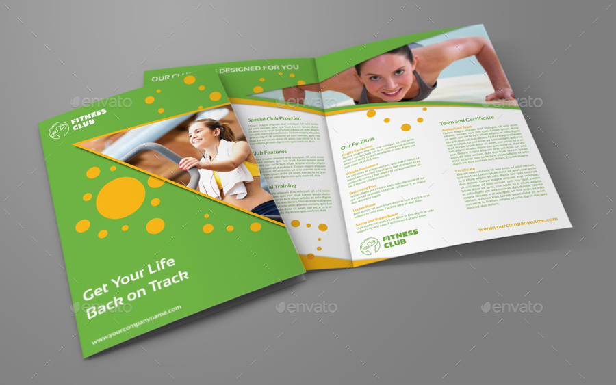 Fitness - GYM Bi-Fold Brochure Template by OWPictures GraphicRiver - Fitness Brochure