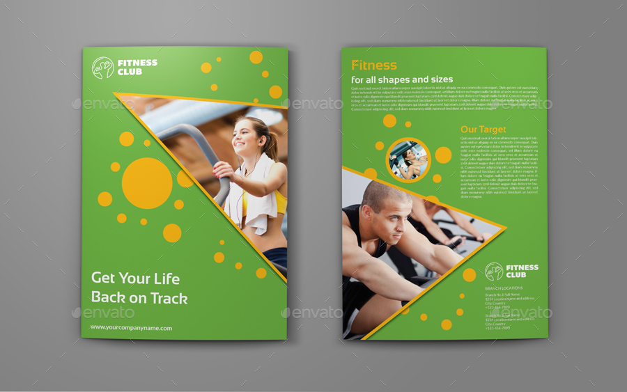 Fitness - GYM Bi-Fold Brochure Template by OWPictures GraphicRiver - fitness brochure template