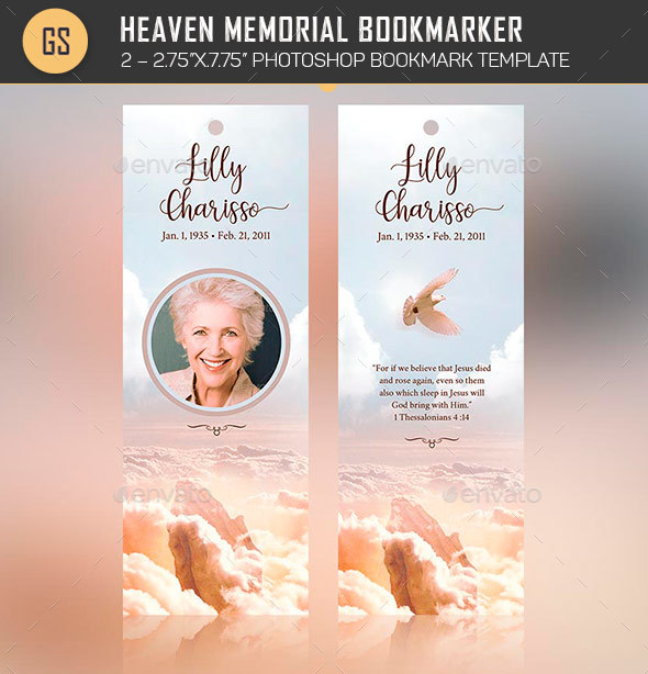 Heaven Memorial Bookmarker Template by Godserv2 GraphicRiver - funeral poster templates