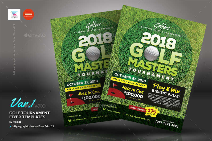 Golf Tournament Flyer Templates by kinzi21 GraphicRiver - golf tournament flyer template