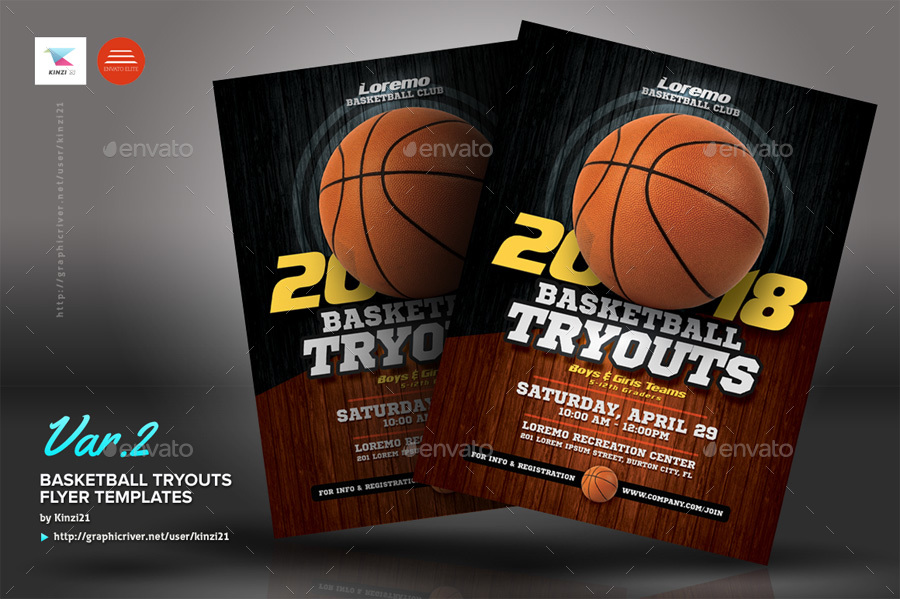 Basketball Tryouts Flyer Templates by kinzi21 GraphicRiver - basketball flyer example