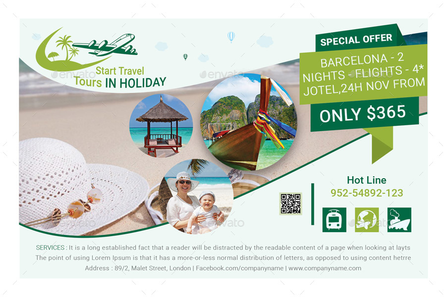6x4 Travel Tourism Flyer Template by GraphicShaper GraphicRiver
