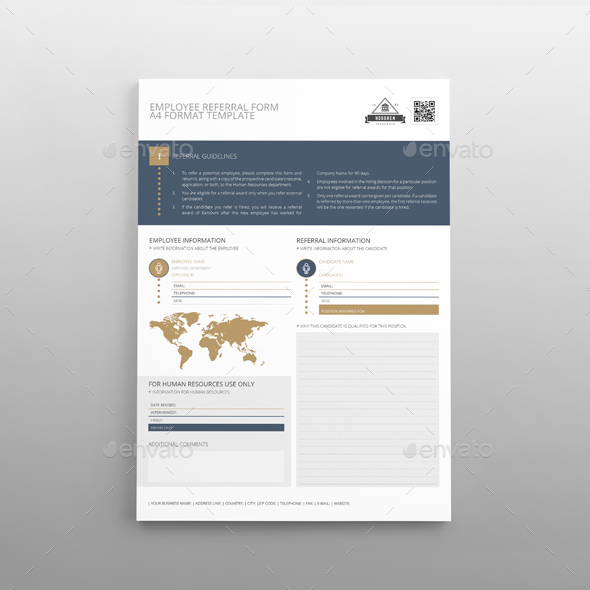 Employee Referral Form A4 Template by Keboto GraphicRiver - employee referral form