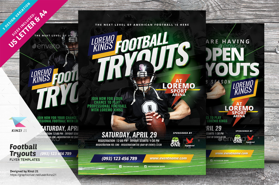 Football Tryouts Flyer Templates by kinzi21 GraphicRiver