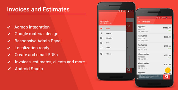 Android Invoices  Estimates Template + Admob + Admin Panel by bytecodr - android template