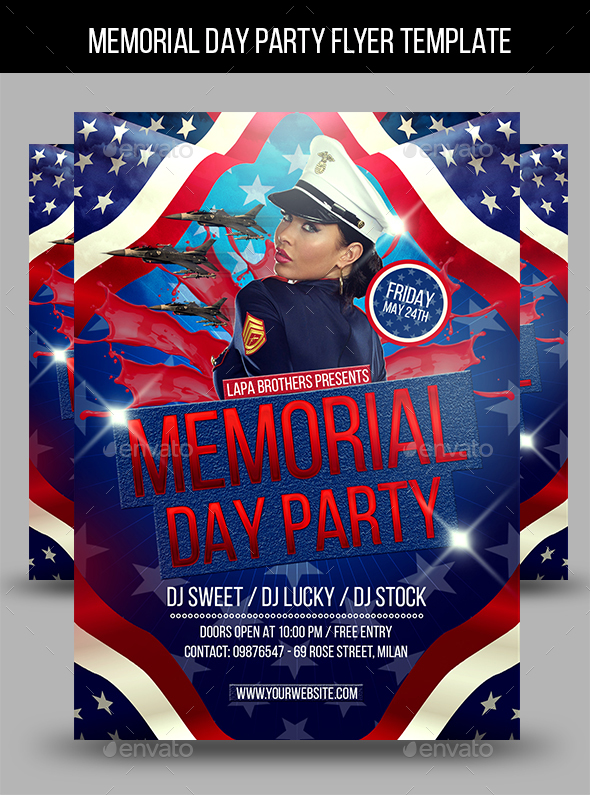 Memorial Day Party Flyer Template by Lapabrothers GraphicRiver