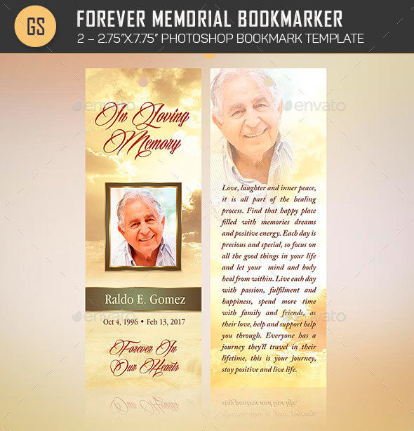 Forever Memorial Bookmark Template by Godserv2 GraphicRiver - funeral poster templates