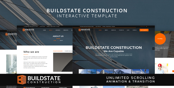 Buildstate Construction Interactive Template by on3-step ThemeForest - interactive website template