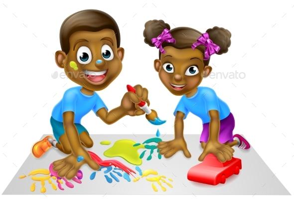 Cartoon Children with Paint and Blocks by Krisdog GraphicRiver - cartoon children play