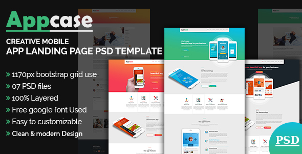 AppCase App Landing Page Template by themexone ThemeForest - app landing page template