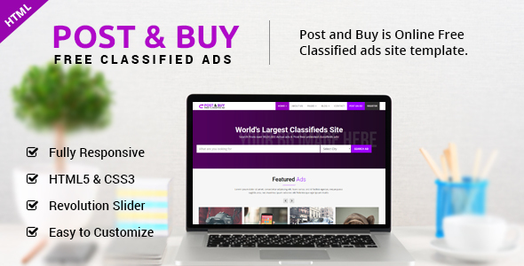 Post and Buy - Classified Ads HTML Template by ecreativesol