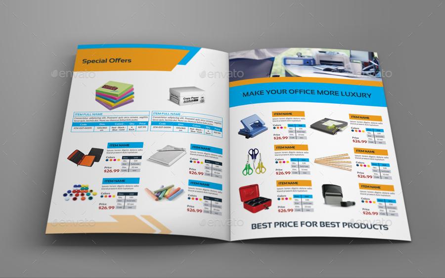Stationery Products Catalog Bi- Fold Brochure Template by OWPictures - product brochure template