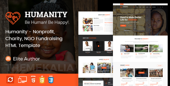 Humanity - Nonprofit, Charity, NGO Fundraising HTML Template by