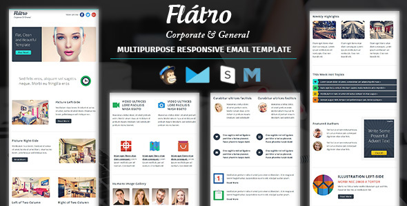Flatro - Responsive Email Newsletter Templates by guiwidgets - corporate newsletter template