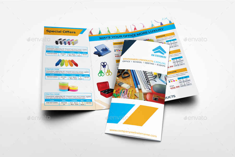 Stationery Products Catalog Tri- Fold Brochure Template by OWPictures - Product Brochure Template