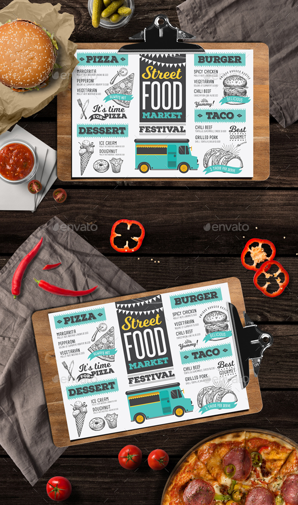 Food Truck Menu by BarcelonaDesignShop GraphicRiver - food truck menu template