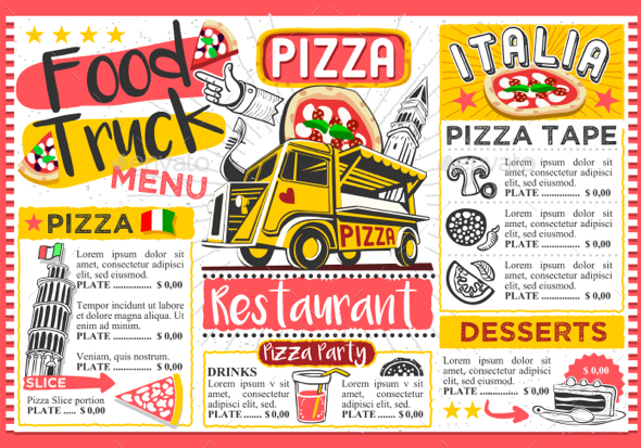 Fast Food Truck Menu Street Food Pizza Festival Vector Template by - food truck menu template