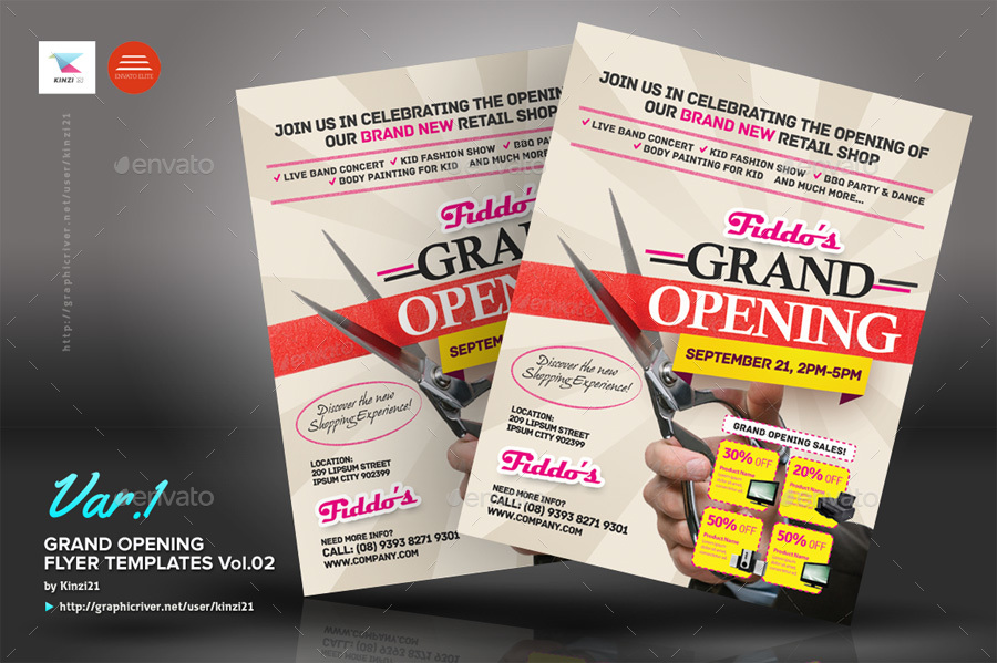 Grand Opening Flyers Vol02 by kinzi21 GraphicRiver - Grand Opening Flyer