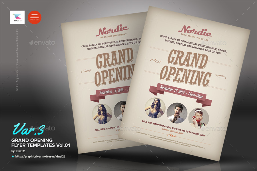 Grand Opening Flyers Vol01 by kinzi21 GraphicRiver - grand opening flyer template