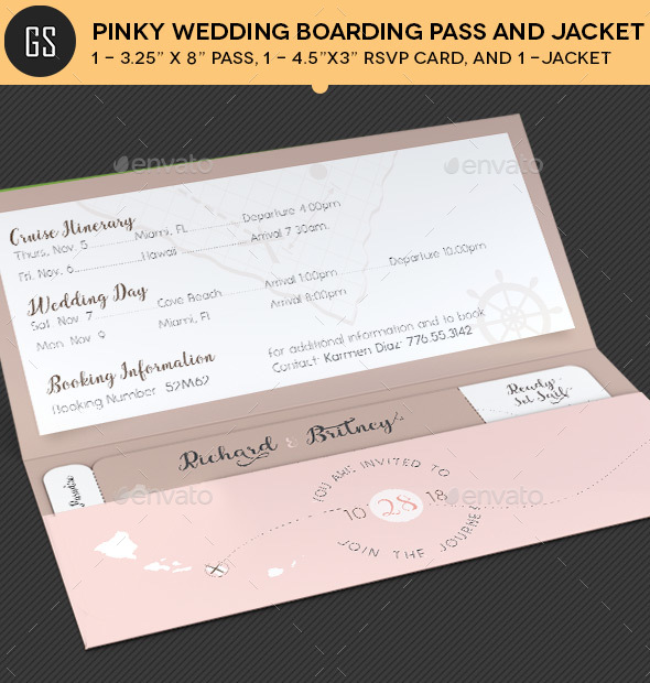 Pinky Wedding Boarding Pass Invitation Template by Godserv - boarding pass template