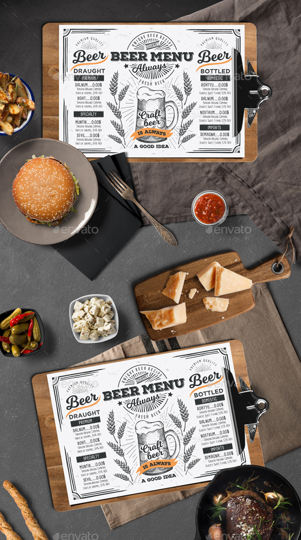 Beer Menu Template by BarcelonaDesignShop GraphicRiver - food menu template