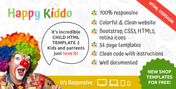 Happy Kiddo - Multipurpose Kids HTML Template by EntroSolutions