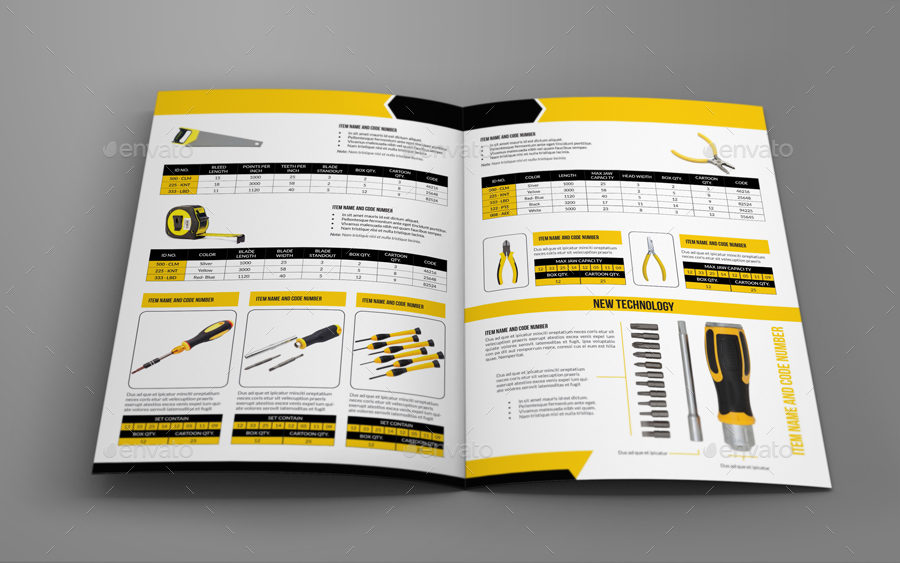 Hand Tools Products Catalog Bi- Fold Brochure Template by OWPictures - Product Brochure Template