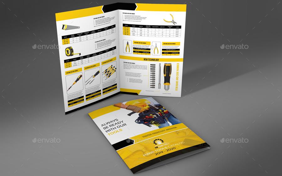 Hand Tools Products Catalog Bi- Fold Brochure Template by OWPictures - product brochure template