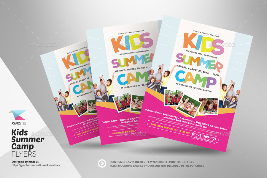 Kids Summer Camp Flyer Templates by kinzishots GraphicRiver - Summer Camp Flyer Template