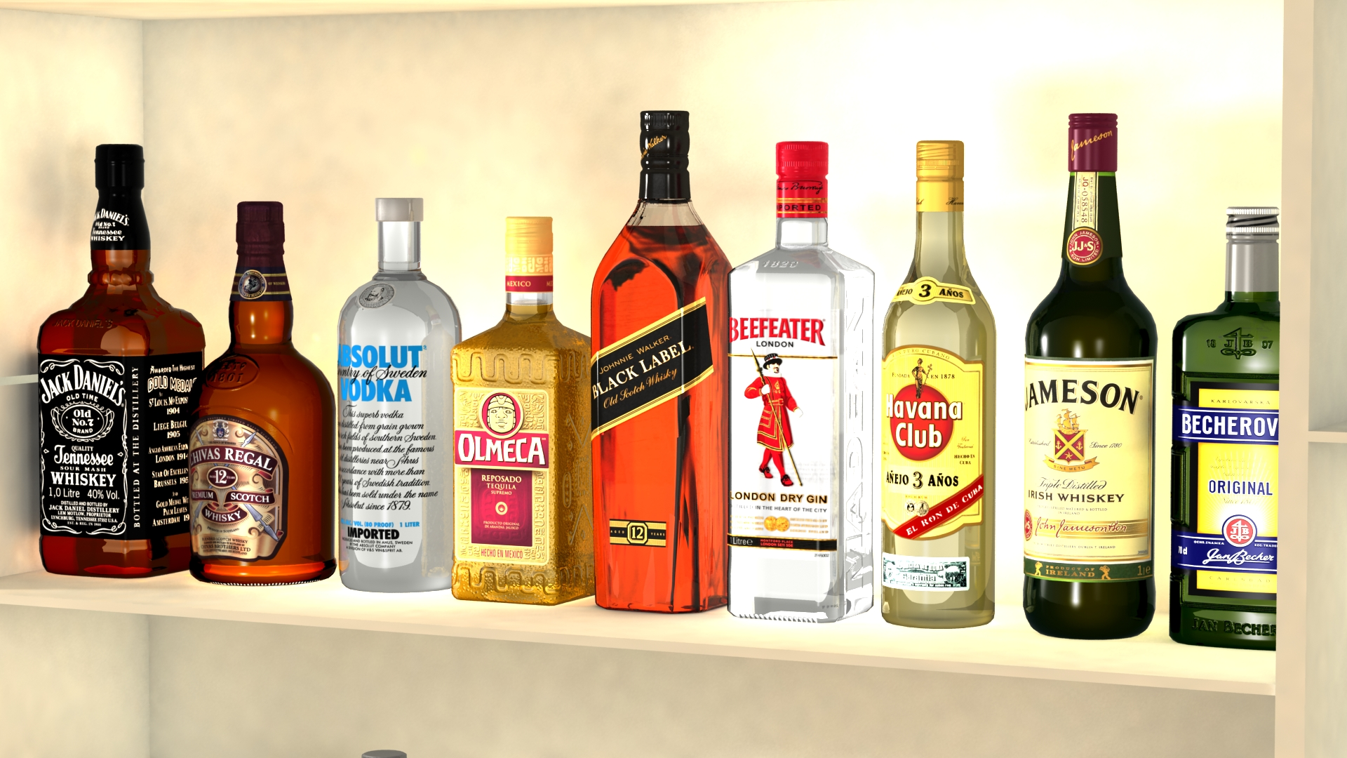 Liquor Bottles With Bar Unit Interior By 3delement 3docean