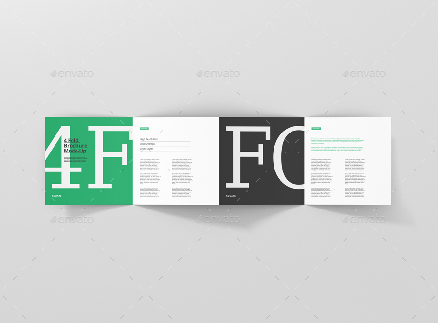 4-Fold Brochure Mockup - Square by visconbiz GraphicRiver