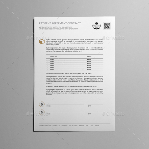 Payment Agreement Contract Template by Keboto GraphicRiver - payment agreement contract